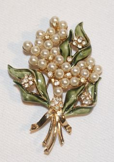 Francois  Coro Enamel, Rhinestone and Artificial Pearl Floral  Pin Brooch Luminous Bijoux Exclusively on Ruby Lane