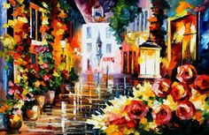 """Original Recreation Oil Painting on Canvas  Title: Street of flowers Size: 36"""" x 24""""  Condition: Excellent Brand new Gallery Estimated Value: $ 6,500 Type: Original Recreation Oil Painting on Canvas by Palette Knife  This is a recreation of a piece which was already sold.  The recreatio..."""