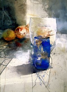 """""""Blå Vas"""" / watercolour -by Lars Eje Larsson This is a super painting! Painting Still Life, Still Life Art, Paintings I Love, Watercolor Sketch, Watercolor Paintings, Watercolors, Guache, Art Abstrait, Watercolor Techniques"""