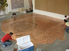 Floor tiled with pennies!