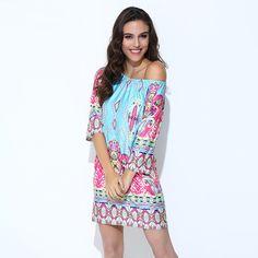 Bohemian Elegant Off Shoulder Beach Tunic Dress - FashionandLove.com