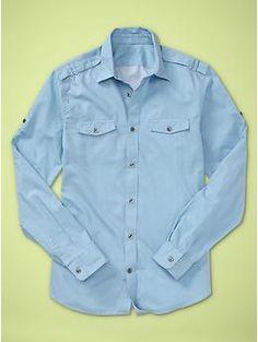 .Gap   Convertible sleeve shirt in Moroccan blue