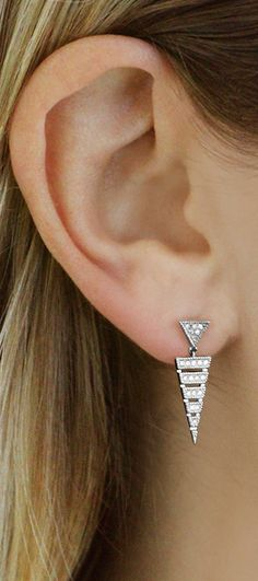 This cutout linear bar design adds a fashion-forward touch, guaranteed to stand… Jewelery, Men's Jewellery, Designer Jewellery, Diamond Jewellery, Jewellery Designs, Vintage Jewellery, Diamond Drop Earrings, Pearl Earrings, Fashion Earrings
