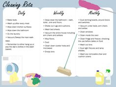 Helpful Cleaning Rota... Stay on top of the chores!