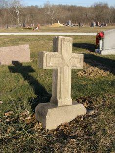 cross shaped marker Saint Joseph Cemetery Crooksville, Ohio