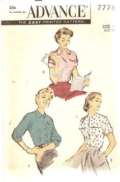 1950s Set Misses Blouse Pattern Advance 7776 Bust by CherryCorners, $6.00