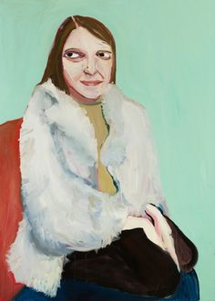 Artist of the Day  Chantal Joffe  Moll in a Fur Jacket,  2016 Oil on canvas 84 1/10 × 60 in