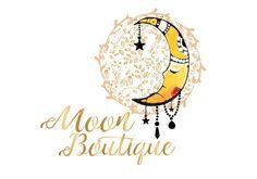 Custom Logo design moon watercolor logo gold moon by HappyLogo