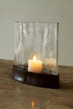 Bronze and handblown Elipse glass candleholder