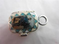 Antique Deco Egyptian Revival Silver Gilt Enamel Moses Basket Baby in Charm 8362