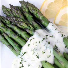 Asparagus with Lemon Dill Sauce Recipe Side Dishes with fresh asparagus, butter, flour, 2% reduced-fat milk, fresh dill, fresh lemon juice, salt