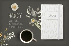Handy Font and Flowers by Bloomart on @creativemarket