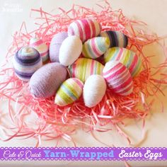 Yarn Wrapped Easter Eggs, 14 Fabulous Spring Projects {& Win a Target Giftcard!} - The Happy Housie