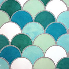 Large Format Clearwater Moroccan Fish Scale Tile Mediterranean- fun for a bathroom backsplash or shower.
