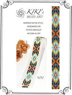 Peyote Pattern for bracelet - Narrow ethnic styled headband like peyote bracelet pattern in PDF instant download