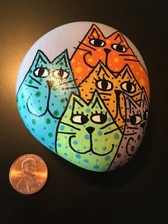 Kitty Faces Painted on Rock pastel whimsical