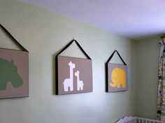 DIY animal nursery art, chunky canvasses