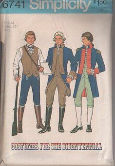 MOMSPatterns Vintage Sewing Patterns - Simplicity 6741 Vintage 70's Sewing Pattern PATRIOTIC Men's Costumes for the Bicentennial, Washington Colonial Waistcoat Vest, Coat with Tails & Cuffs, Breeches Pants & Shirt Size 44