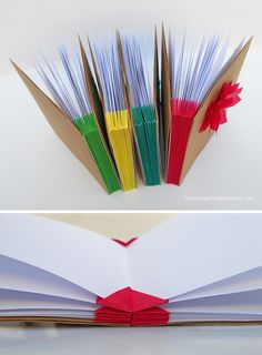 Investigando nuevas maneras de encuadernar con técnicas de origami encontré esta llamada Blizzard book. Consiste en una estructura centra...