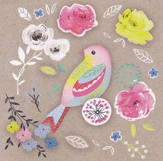 Mooie kaart, roze vogel