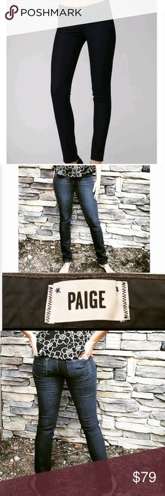 "Paige Skyline Skinny Jeans Paige Skyline Skinny Jeans Skyline Skinny is a mid-rise skinny with a leg that gets slimmer from the knee to the leg opening. An inky-blue rinse colors stretch-denim skinny jeans finished with tonal topstitching for a clean look. A hidden credit card slot in the back pocket adds a convenient touch. Size: 25 Color: Twilight  Inseam: 30"" Waist: 13.5"" flat Hip: 16"" Front rise: 7.5"" Back rise: 12.5"" 80% Cotton, 19% Polyester, 1% Spandex Measurements are approximate…"