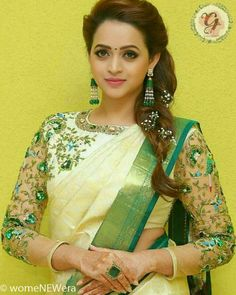 Trendy and Stylish Blouse Designs For this wedding season Kerala Saree Blouse Designs, Netted Blouse Designs, Bridal Blouse Designs, Set Saree, Saree Dress, Lehanga Saree, Lahenga, Anarkali, Saree Hairstyles