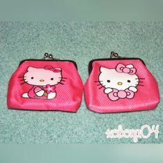 "FINAL PRICE! MUST GO! Hello Kitty Coin Bags (2) Set of (2) Hello Kitty print coin bags. Hot pink. Dark Pink (Left) has signs of usage. Approx. 3.5""x3/4"". Bags Mini Bags"