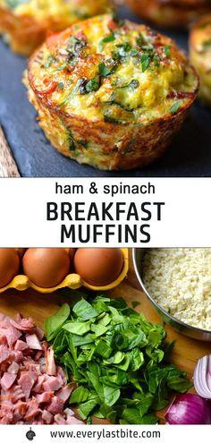 Keto Breakfast Muffins, Ham Breakfast, Whole 30 Breakfast, Breakfast Recipes, Grab And Go Breakfast, Breakfast Ideas, Frittata Recipes, Spinach Recipes, Paleo Frittata