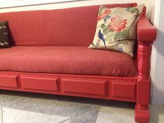 red couch/padded bench  and  strong wooden shelves -  $45