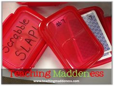 Dollar store soap containers and Numbers organize card games in the classroom.