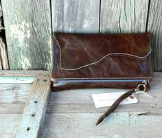 Leather Clutch purse Fold Over bag  women's/ by FeralEmpire, $68.00