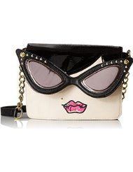 "Betsey Johnson Lady Face Cross Body Bag.  Polyvinyl Chloride Imported Synthetic lining Magnetic Snap closure 23.5"" shoulder drop 7"" high 8.5"" wide. $43.03 - $88.00"