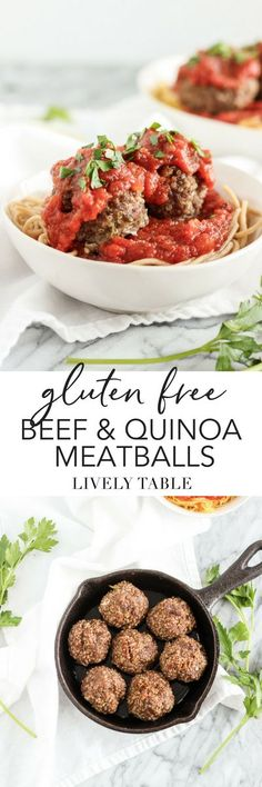 Healthy, protein packed Gluten Free Italian Beef Quinoa Meatballs are easy to make and full of flavor! (#glutenfree, #dairyfree) #meatballs #dinner #healthy #quinoa #Italian #beef #spaghettiandmeatballs #healthy