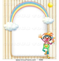 Circus Clipart of a Friendly Circus Clown and Rainbow Arch Frame