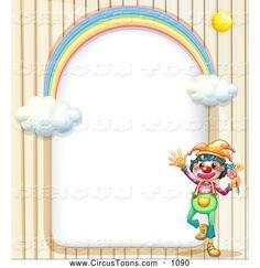 Circus Clipart of a Friendly Circus Clown and Rainbow Arch Frame