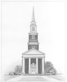 """""""I was EXTREMELY pleased with the sketch once it was received. The artist went into explicit detail which added to the beauty of the church sketch. This was the church my husband and I got married in and now we will be able to treasure it forever. Beautiful Pencil Sketches, Cool Sketches, Pencil Sketch Portrait, Pencil Drawings, Sketch Paper, I Got Married, Empire State Building, How To Draw Hands, Fine Art Prints"""