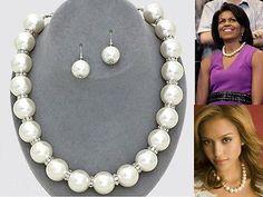 New Women Fashion Celebrity Inspired Pearl Necklace Set Bridal Jewelry | eBay
