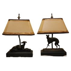 1stdibs | Pair of French  Bronze Greyhound Dog Lamps