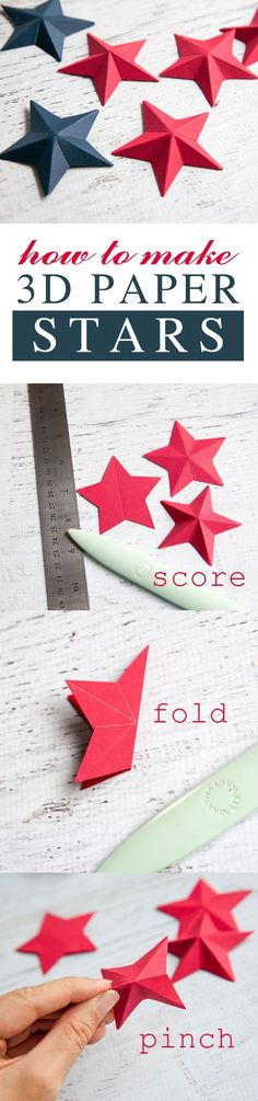 Need easy and inexpensive decor for the 4th of July? Learn how to make simple 3D paper stars and build a patriotic piece of wall art. These stars are also perfect to add accents to party favors and other decor! Start with a star shape, score five times along the points, fold in half along each of the scores, then pinch the ends to make them 3D. Super easy, and super cute!