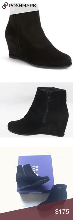 EUC Stuart Weitzman wedge black suede booties sz 6 Stuart Weitzman wedge ankle boots in a gorgeous black suede!  Excellent used condition as you can see from photos -- only worn a few times. (First two photos are stock to show style, last two are actual booties.). Stuart Weitzman Shoes Ankle Boots & Booties