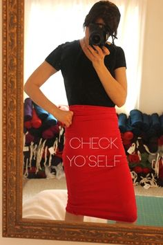 10 minute pencil skirt.  I want to try this so badly!