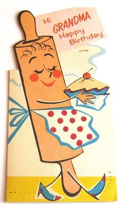 Vintage Rolling Pin Grandma birthday card