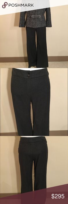 """Armani Collezioni Dark Grey Wool Trousers Size 14 Originally purchased at Saks Fifth Avenue to go with the Herringbone jacket I have listed for sale. Size 14 or 50 European. Made of 52% Virgin Wool, 45% Angora, 3% Spandex. Made in Tunisia 🇹🇳 Fully Lined. In Like New condition. Inseam: 31"""", Waist: 30 1/2"""" Hip: 41 Armani Collezioni Pants Trousers"""