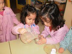 AGUA. El Agua no tiene forma .     Motivación: Mostramos a los niños recipientes de distinas formas: cuadrado, redondo, alargado y una jarra con agua. Hipótesis: Preguntamos a los niños y las niñas qué forma adoptará el agua en cada recipiente cuando los llenemos con el agua de la jarra.  Experiencia: Llenamos de agua cada uno de los recipientes para que los niños  observen y digan cuál es la forma del agua en cada caso.