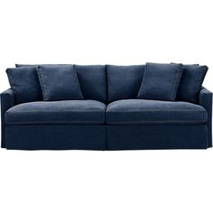 "I've always loved denim couches... CB has them now!! (Lounge 93"" Slipcovered Sofa in Sofas 