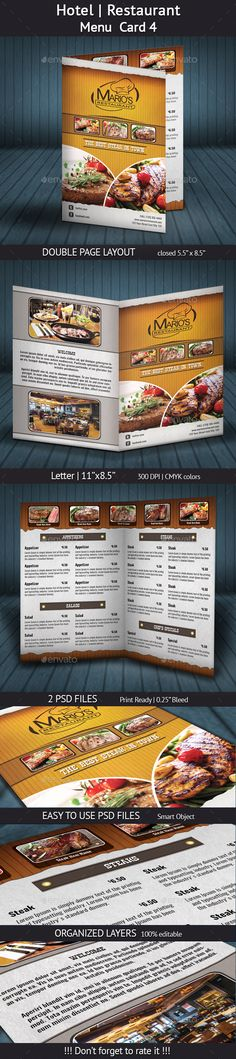 Hotel | #Restaurant Menu Card 4 - #Food #Menus Print Templates Download here: https://graphicriver.net/item/hotel-restaurant-menu-card-4/20293828?ref=alena994