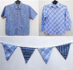 "Boys' shirts repurposed into ""boy"" bunting! Could see this being repurposed into a number of different ways. Bunting Garland, Bunting Banner, Bunting Ideas, Sewing Crafts, Sewing Projects, Diy Crafts, Old Shirts, Flannel Shirts, Red Flannel"
