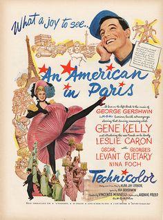 1951 An American in Paris Movie Vintage Print Ad Gene Kelly Leslie Caron 1950s Ads, Retro Ads, 1940s, Vintage Movies, Old Movies, Vintage Posters, Retro Posters, Print Ads, Poster Prints