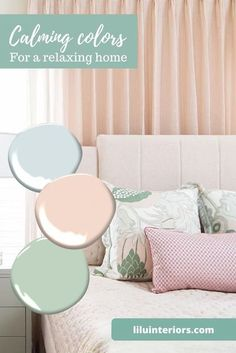 7 calming color palettes for cultivating your safe haven. Curated by top interior designers. CLICK TO READ MORE! #color #colorpalette #soothingcolors #paintcolors #calmcolors #colorpsychology #purple #lightblue #sagegreen #teal #blushpink #deepgray #lightyellow Soothing Colors, Safe Haven, Color Psychology, Top Interior Designers, Blush Pink, Paint Colors, Palette, Relax, Home Decor