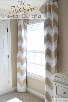 DIY: No-Sew Chevron Curtains/Fawn Over Baby curtains for baby's room Chevron Curtains, Yellow Curtains, Diy Curtains, Homemade Curtains, My Living Room, Living Room Decor, Bedroom Decor, My New Room, My Room